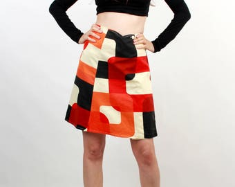 70s Colorblock Skirt / Abstract Skirt / Color Block Skirt / Wrap Skirt / Midi Skirt / Flared Skirt / Medium