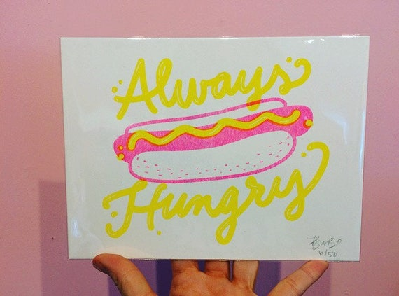 Always Hungry riso print by Little Arrow