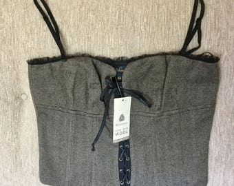 Vintage Luisa Spagnoli Tweed and Black Lace Bustier / Corset Italy Designer