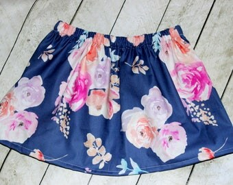 girls violet peach blue skirt Spring outfit for toddler girl Baby girl skirt Birthday skirt for outfit Skirt with roses Flower Easter skirt