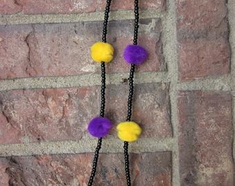 Pom Pom Necklace with Seed Beads