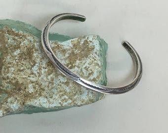 Vintage Navajo Hand Stamped Bracelet / Sterling Native American Cuff