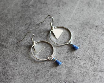 """Playful"" blue earrings, circle, triangle pendant, tassel"