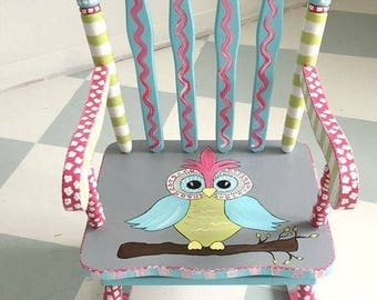 Personalized Child Rocking Chair, Custom Painted Owl Kid Rocking Chair, Boy or Girl Custom Painted Child Rocking Chair
