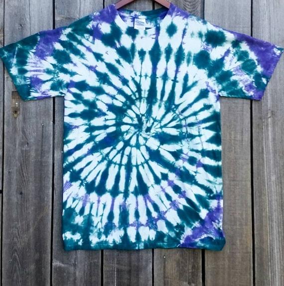Spiral Tie Dye Shirt/Better Blue Green & Deep Purple/Adult Tie Dye T-Shirt/Hand Dyed/Eco-Friendly Dying