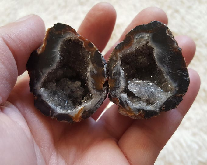 Occo Geode Pair ~ 1 Reiki infused cut and polished geode pair (OGP23)