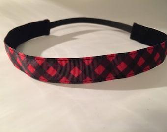 Red Plaid Headband Women, Plaid Pattern Nonslip Headband, Choice of Size & Color, Pink Plaid Ribbon Headband Girls