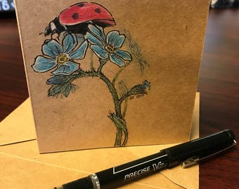 Lady Bug & Flowers - Hand Drawn Greeting Card