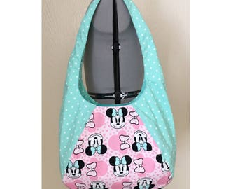 Minnie Mouse Inspired Large Hobo Bag, Polka Dots