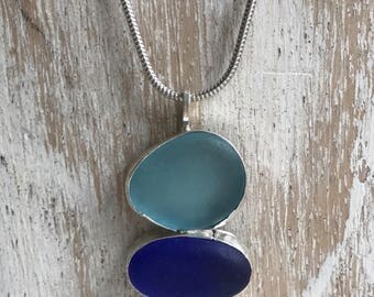Hand made natural sea glass and silver necklace.