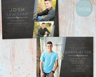 ON SALE Guys Senior Graduation Card - Photoshop Template - AG010 - Instant Download