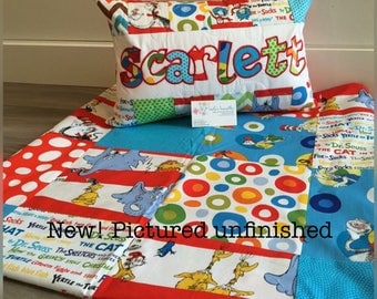 New! Seuss licensed fabric quilt, cat in the hat, quilt and pillow set