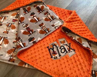 Fox double sided Minky Baby Blanket, SALE!