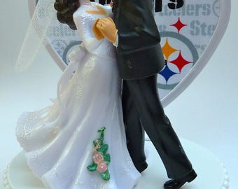 Wedding Cake Topper Pittsburgh Steelers Themed Football Couple Dancing First Dance Bride Groom Sports Sporty Pretty Heart Turf w/ Garter Fun