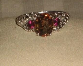 Massif_Vrai Cognac_Grenats_Non traites_t56 Topaz silver ring, 5.