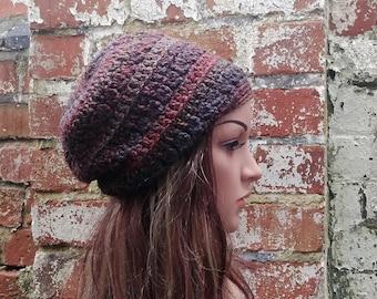 Beanie hat  .Brown hat . Slouch beanie . Crochet hat . Crochet beanie for women. Festival hat .