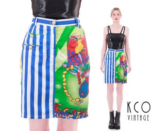 """90s Vtg VERSACE Jeans Couture High Waisted Pencil Skirt Colorful """"Jazz Age"""" Novelty Print Authentic Made in Italy Women's Size Medium"""