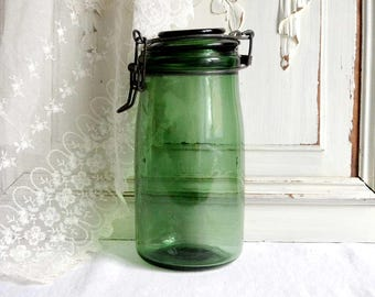 French vintage canning jar, green glass canning jar, French farmhouse preserving glass jar