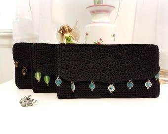 Evening Clutch in Classic Black by Anne O'Brien Design / Crochet Evening Bag / Black Evening Bag with Charm Trim / The Anne