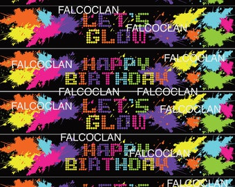 glow water labels, glow party, glow party decor, glow in the dark party, neon party, neon birthday, neon party decor, glow party banner glow