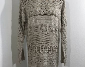 VINTAGE 80s SUZELLE Gold Knit Top Sweater Shell Size Medium