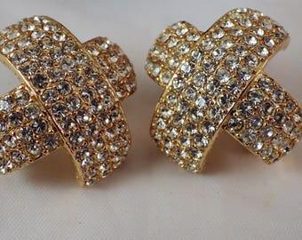 1980s Vintage Ciner Earrings Rhinestones X Clips Elegant Goldtone Estate