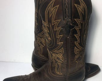 Lucchese 1883 Brown Leather Western Cowgirl Cowboy Boots Women's Size 7.5