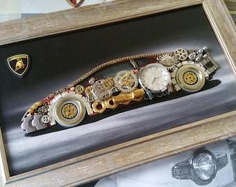 Lamborghini car model Code M 194, Steampunk wall art, Lamborghini design, Car decor, Gifts for men, Luxury gifts, Speed car, Original Art