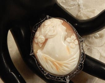 ON SALE Beautiful Sterling Carved Shell Lady Cameo Filigree Brooch
