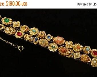 ON SALE Vintage Goldette Double Slider Victorian Revival Style Bracelet
