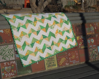 zig zag scrappy green and yellow baby quilt