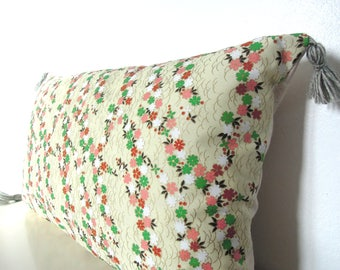 "Pillow cover ""garlands of flowers, Japanese, cotton melange ecru and pastel green PomPoms"""