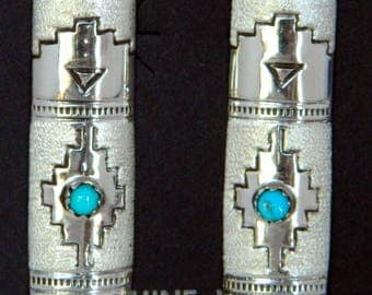 Native American Navajo Turquoise Sterling Hand Stamped  Etched Handmade Earrings