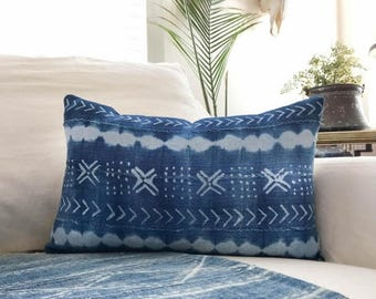 SALE Mudcloth Pillow  12x20 Inch Vintage Indigo African  Cloth Pillow Cover