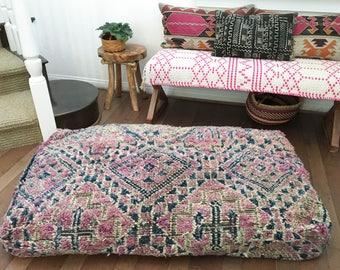 Huge Moroccan Double Pouf / Moroccan Boujaad Pouf / Vintage Moroccan Floor Pouf / Moroccan Floor Cushion / Kilim Pouf / Beni Ourain Pouf