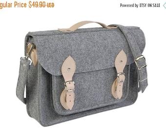 SALE MacBook Pro 15 inch bag , satchel, Laptop bag, case, felt messenger bag with leather straps and belt shoulder
