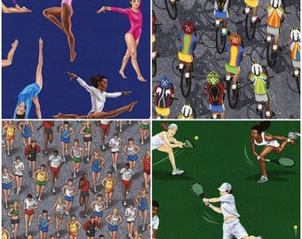 Athletes Cotton Fabric! Gymnasts, Runners, Tennis Players, Cyclists, & Bikers! [Choose Your Cut Size]