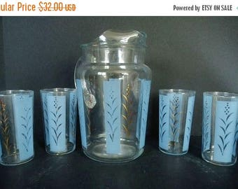On Sale Vintage Beverage Pitcher Glass Set