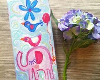 Original Whimsy Elephant Bird flower painting one of a kind Original Art Australian Artist Whimsical Folk Art