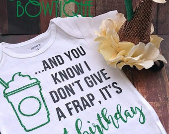 First Birthday bodysuit - personalized - one- starbucks theme - frap - latte - frappuccino - SHIRT ONLY