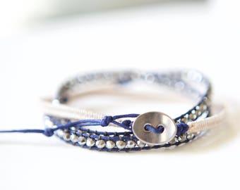 white crystal wrap bracelet, wrap bracelet, waxed cord wrap bracelet, bohemian wrap bracelet, silver bead bracelet, blue cord bracelet