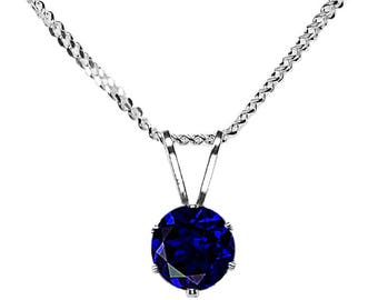 5mm Round Faceted Synthetic / Lab Sapphire 925 Sterling Silver Pendant + Chain / Necklace