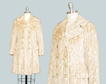Vintage 1960s Coat | 60s Leopard Animal Print Faux Fur Double Breasted Pea Coat Mod Jacket (xs)