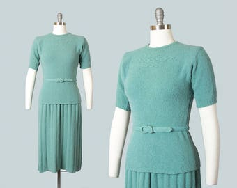 Vintage 1940s 1950s Knit Set | 40s 50s Boucle Wool Top Skirt Seafoam Green Sweater Dress with Belt (small/medium)