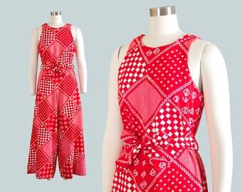 Vintage 1960s Jumpsuit | 60s Bandana Checkered Print Cotton Red Palazzo Pant Wide Leg Playsuit (small/medium)