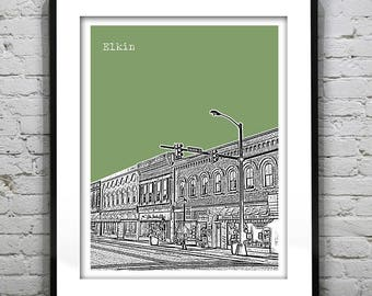 1 Day Only Sale 10% Off - Elkin Art Print Poster Original North Carolina NC Version 1