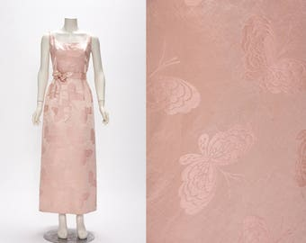 pale pink butterfly print silk dress bespoke vintage 1960s • Revival Vintage Boutique