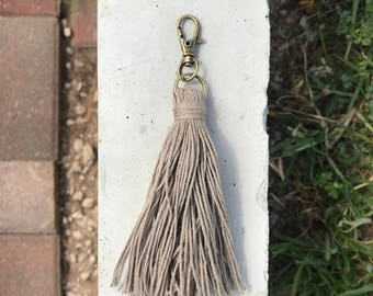 Mocha Cotton tassel keychain/zipper pull