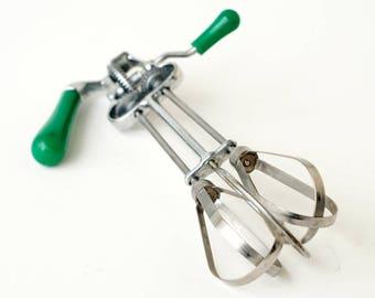 Green Handle Manual Mixer Vintage Retro