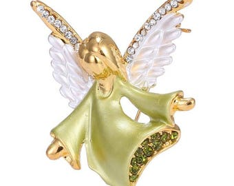 Lovely Easter Oil Painted Rhinestones Angels Retractable ID Name Badge Holder.